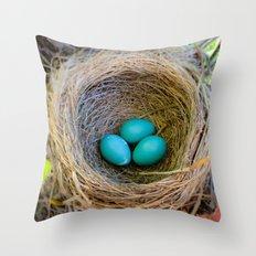 Three Little Robin's Eggs Throw Pillow
