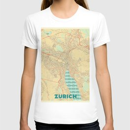 Zurich Map Retro T-shirt
