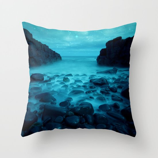 Blue Rocks Ocean and Stars Throw Pillow