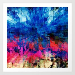 Bright Blues and Pinks Pattern Abstract Art Print