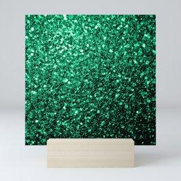Beautiful Emerald Green glitter sparkles Mini Art Print