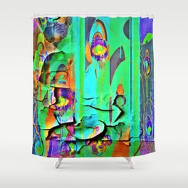 DECORATIVE GREEN SHABBY CHIC PEELING WALLPAPER DESIGN Shower Curtain