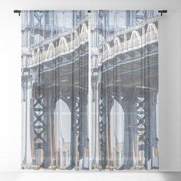 Manhattan Bridge Empire Blue Sheer Curtain