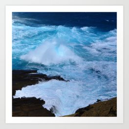 Tropical Hawaii Island Crashing Waves and Bubbling Surf Art Print