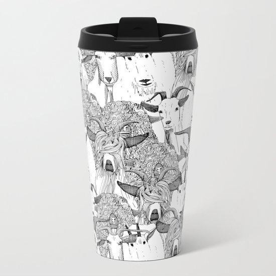 just goats black white Metal Travel Mug