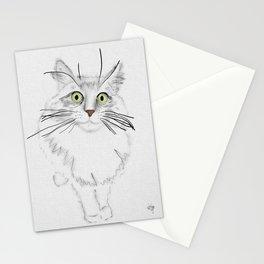 Green Eyed Greedy Cat Stationery Cards