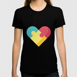 Autism Awareness Colorful Heart graphic Gift for Mom T-shirt