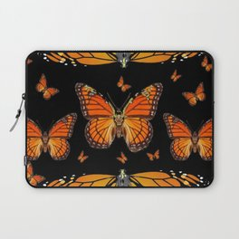 ABSTRACT ORANGE MONARCH BUTTERFLIES BLACK  PATTERNS Laptop Sleeve