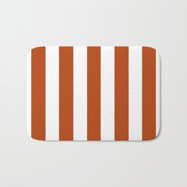 Rust brown - solid color - white vertical lines pattern Bath Mat