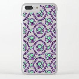 Purple Cactus Buds Clear iPhone Case