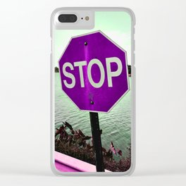 Iterations of a Stop Sign #4: Violet Clear iPhone Case