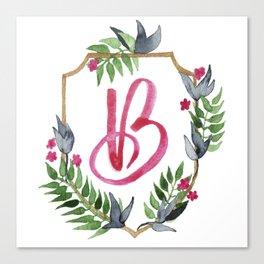Jungle Gold Monogram Crest B Canvas Print