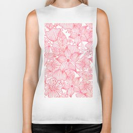 Hand painted modern pink coral watercolor floral illustration Biker Tank