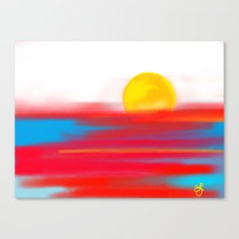 Sketchy Sun and Sea. Sunset and Sunrise Sketch Canvas Print