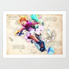 Ezreal arcade skin artwork adc da vinci style sketch Art Print