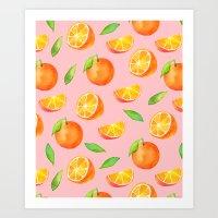 Watercolor Oranges Pattern 2 Art Print