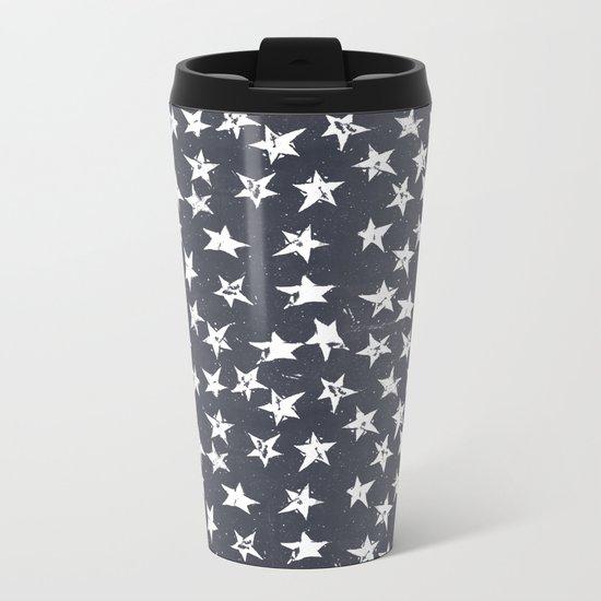 Linocut Stars - Navy & White Metal Travel Mug