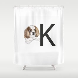K is for King Charles Cavalier Shower Curtain