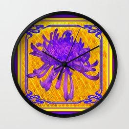 PURPLE SPIDER MUM ON GOLD PATTERN Wall Clock