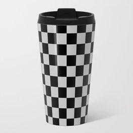 Black and Gray Checkerboard Travel Mug