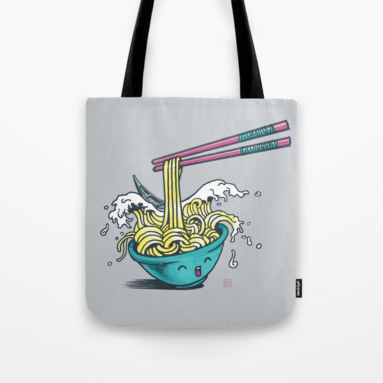 The Great Wave of Noodles with chopstick Tote Bag