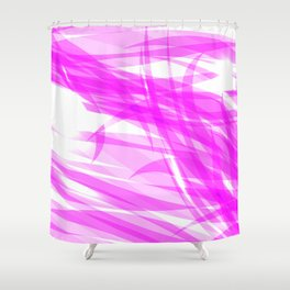 Pink and smooth sparkling lines of crimson ribbons on the theme of space and abstraction. Shower Curtain