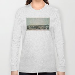 Vintage Pictorial Map of New Haven CT (1849) Long Sleeve T-shirt