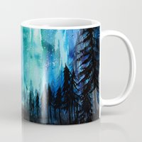 northern lights Mugs featuring Northern Lights by VivianLohArts