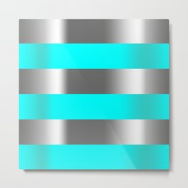 aqua silver stripes Metal Print
