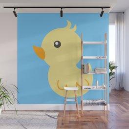 Yellow rubber ducks illustration Wall Mural
