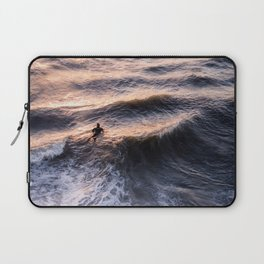 Lone surfer at sunset waiting for the next wave Laptop Sleeve