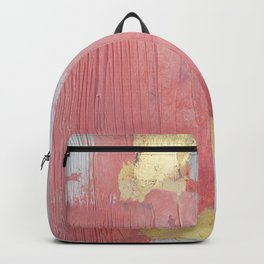 Melody: a pretty minimal abstract painting in gold pink and white by Alyssa Hamilton Art Backpack