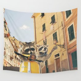 Raccoons on the road trip Wall Tapestry