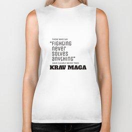 Fighting Never Solves Anything... Try Krav Maga  Biker Tank