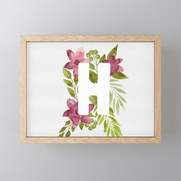 Monogram H with red watercolor flowers and leaves. Floral letter H Framed Mini Art Print