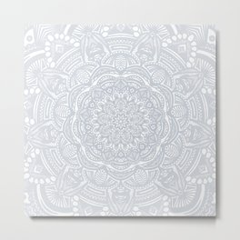 Light Gray Ethnic Eclectic Detailed Mandala Minimal Minimalistic Metal Print