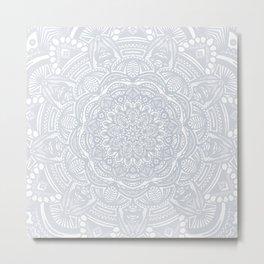 Light Gray Ethnic Eclectic Detailed Mandala Minimal Minimalistic Metal Print