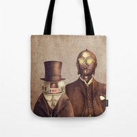 victorian Tote Bags featuring Victorian Robots  by Terry Fan