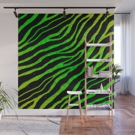 Ripped SpaceTime Stripes - Lime/Green Wall Mural