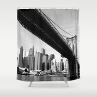 brooklyn bridge Shower Curtains featuring Brooklyn Bridge by Gold Street Photography