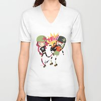 roller derby V-neck T-shirts featuring It's Roller Derby, sweetie! by Irene Dose