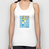 political Tank Tops featuring political map of Argentina country with flag by tony tudor