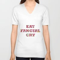 fangirl V-neck T-shirts featuring Eat Fangirl Cry by BeeJL