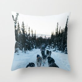 SNOW - HUSKIES - SLED - FOREST Throw Pillow