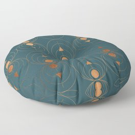 Copper Art Deco on Emerald Floor Pillow