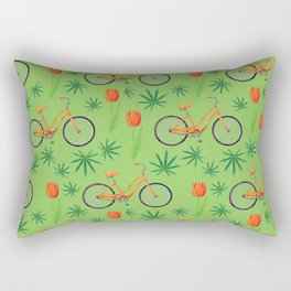 Netherlands seamless pattern with bicycle, marijana cannabis leafs and spring-flowering plant tulip Rectangular Pillow