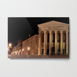 Night shot of national theatre in Subotica, Serbia Metal Print