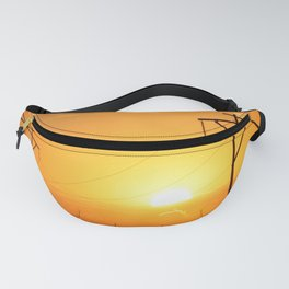 Kansas Golden Sunset with Power Lines Silhouettes Fanny Pack