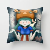 beastie boys Throw Pillows featuring Beastie  by Murka