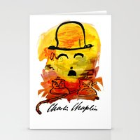 charlie chaplin Stationery Cards featuring Charlie Chaplin by Genco Demirer